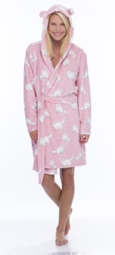Munki Munki Women's Fluffy Cat Coral Fleece Robe