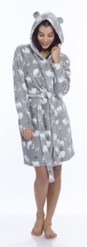 Munki Munki Women's Fluffy Polar Bear Coral Fleece Robe