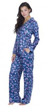 Munki Munki Women's Butterflies Satin Classic Pajama Set
