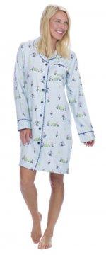 Munki Munki Women's Light Blue Snow Gnomes Flannel Nightshirt