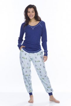 Munki Munki Women's Light Blue Snow Gnomes Tee and Flannel Jogger Set