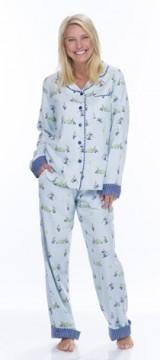 Munki Munki Women's Light Blue Snow Gnomes Classic Flannel Pajama Set