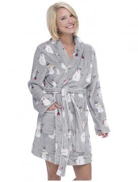Munki Munki Women's Fluffly Snowmen Coral Fleece Robe