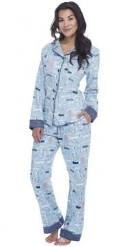 "Munki Munki Women's ""Sweater Dogs"" Classic Flannel Pajama Set"