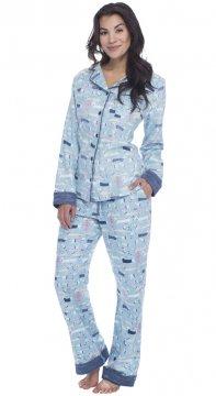 Munki Munki Women's Sweater Dogs Classic Flannel Pajama Set