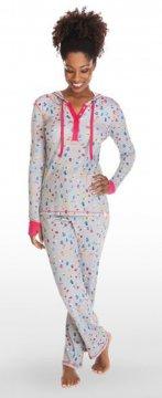 Munki Munki Teeny Mittens Ribbed Hooded Henley Pajama Set