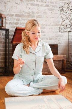 Munki Munki Women's Teeny Sheep Short Sleeve Jersey Classic Pajama Set