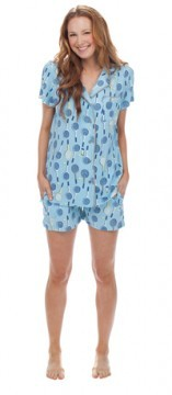 Munki Munki Women's Tennis Rackets Jersey Short Sleeve Shirt and Short Classic Pajama Set