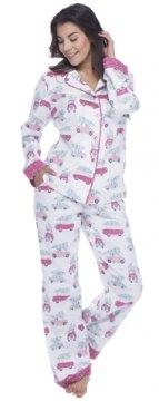 Munki Munki Women's Tree Shopping Classic Flannel Pajama Set