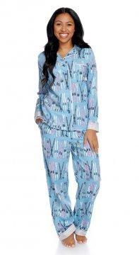 Munki Munki Women's Vintage Skiing Classic Flannel Pajama Set