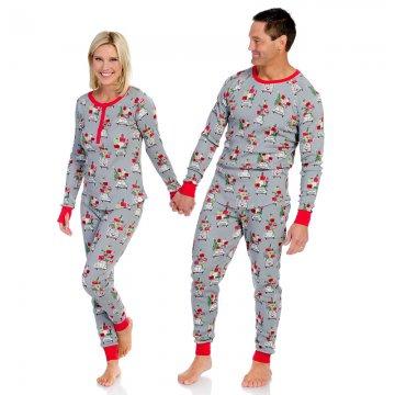 Munki Munki Women's Christmas Shopping Thermal Long John Pajama Set