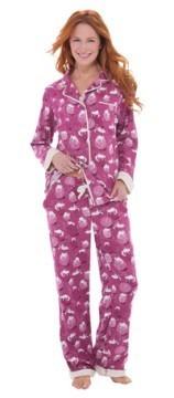 "Munki Munki Women's ""Yarn Kitties"" Classic Flannel Pajama Set"