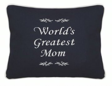"""World's Greatest Mom"" Embroidered Gift Pillow"