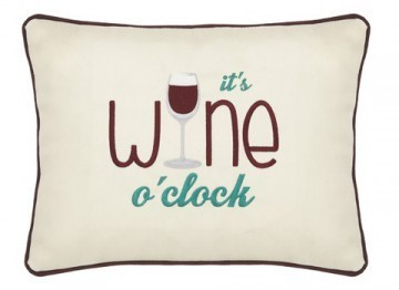 """It's Wine O'Clock"" Cream Embroidered Gift Pillow"
