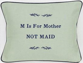 """M Is For Mother..."" Green Embroidered Gift Pillow"