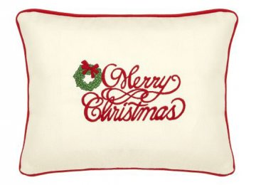 Merry Christmas Cream Embroidered Gift Pillow