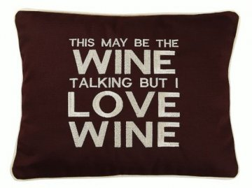 """Wine Talking"" Brown Embroidered Gift Pillow"