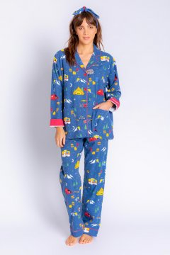PJ Salvage Adventurer Classic Flannel Pajama Set in Navy