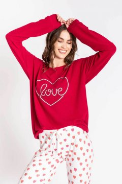 PJ Salvage All Things Love Long Sleeve Jersey Lounge Top in Raspberry