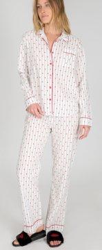 PJ Salvage Amour Stripe Classic Coton Pajama Set in Ivory