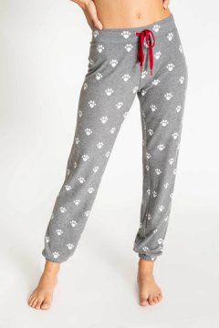 PJ Salvage Animal Lover Banded Knit Jogger Pant in Charcoal