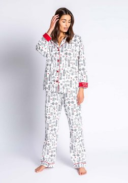 PJ Salvage You're The Apple of My Eye Classic Flannel Pajama Set in Cloud