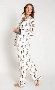 PJ Salvage Ba Hum Pug Classic Flannel Pajama Set in Ivory