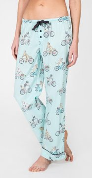PJ Salvage Bicycle Playful Print Cotton Pajama Pant in Light Blue