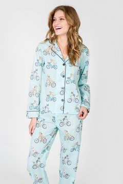 PJ Salvage Bicycle Playful Print Cotton Pajama Set in Light Blue