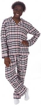 PJ Salvage Women's Fall Into Flannel Black & Pink Plaid Pajama Set