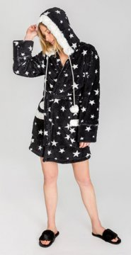 PJ Salvage Plush Dreamer Stars Robe in Black