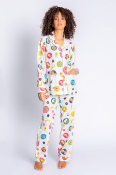 PJ Salvage Love You a Brunch Classic Flannel Pajama Set in Ivory
