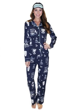 PJ Salvage Women's Playful Prints But First, Coffee Cotton Pajama in Navy