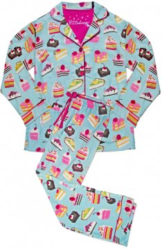 PJ Salvage Women's Cake Party Classic Flannel Pajama Set in Blue