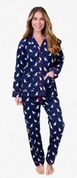 PJ Salvage Cats Pajamas Flannel Pajama Set in Navy