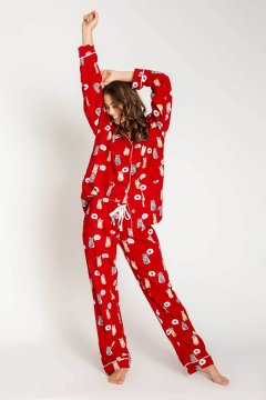 PJ Salvage Cats Classic Flannel Pajama Set in Red