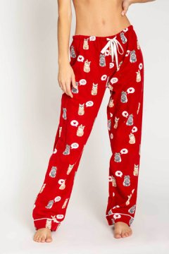 PJ Salvage Cats Flannel Pajama Pant in Red