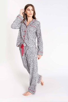 PJ Salvage Chelsea Grey Classic Flannel Pajama Set