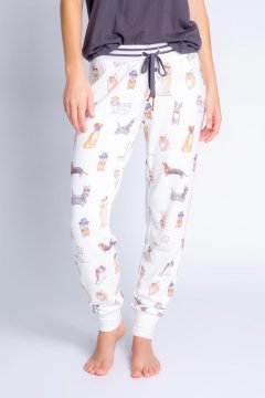 PJ Salvage Coffee + Canines Banded Jammie Pant in Ivory