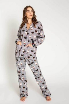 PJ Salvage Coffee is Life Classic Pajama Set in Heather Grey