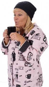 PJ Salvage Women's Fantastic Flannels Coffee Time Pajama Set in Blush