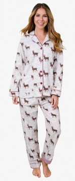 PJ Salvage Women's Deerly Loved Flannel Pajama Set in Ivory