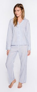 PJ Salvage Denim Blues Stripe Cotton Pajama Set