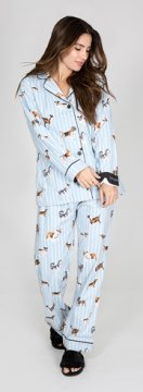 PJ Salvage DogGone Tired Classic Flannel Pajama Set in Blue