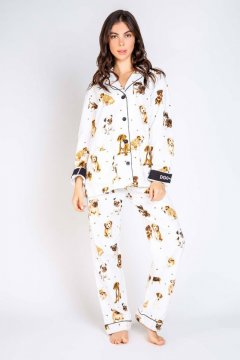 PJ Salvage Dog Mama Classic Flannel Pajama Set in Ivory