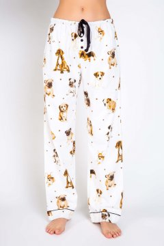 PJ Salvage Dog Mama Flannel Pajama Pant in Ivory