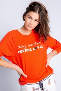 PJ Salvage Coffee + Canines Long Sleeve Peachy Jersey Top in Fire Red
