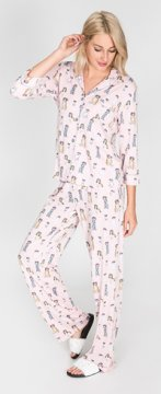 PJ Salvage Dogs Playful Print Cotton Pajama Set in Blush