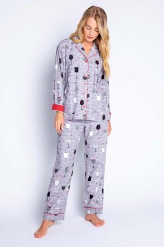 PJ Salvage I Don't Give A Sip Classic Flannel Pajama Set in Grey