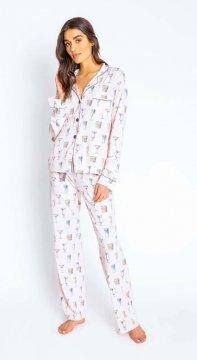 PJ Salvage Playful Prints Drinks  Classic Cotton Pajama Set in Blush